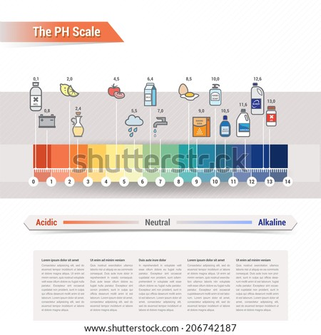 The PH scale - stock vector