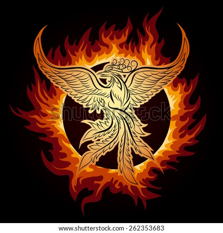 The Phoenix flying in ring of fire. - stock vector