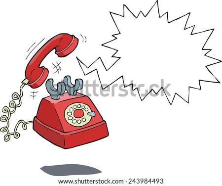 The phone rings on a white background vector illustration - stock vector
