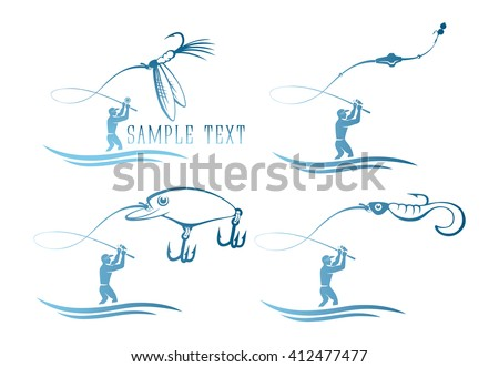 The picture shows a set of icons on the topic of fishing - stock vector