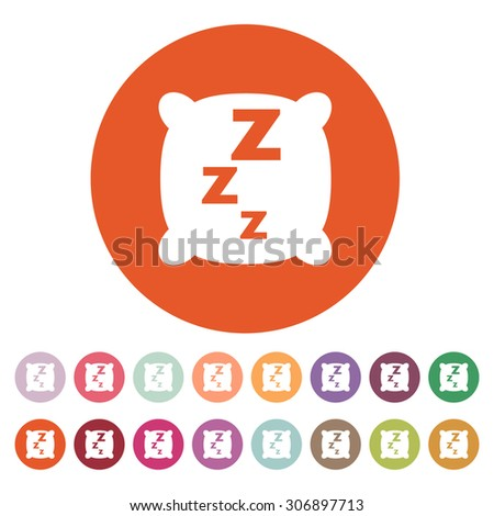 The pillow icon. Cushion and dream, sleeping, hotel, hostel symbol. Flat Vector illustration. Button Set - stock vector