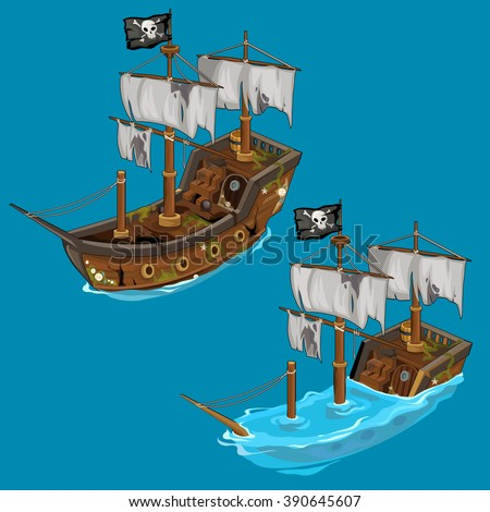 The pirate ship sinks and floats. Water transport. Vector illustration. - stock vector