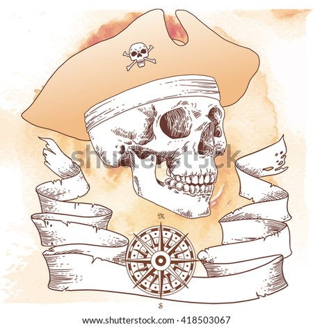 The Pirate Skull Jolly Roger. The vector image of piracy skull. Piracy flag with skull,  ribbon, hat, eye patch. Vector illustration. - stock vector