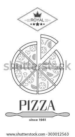 The pizza logo, label for packing pizza.Template logo for your pizza. - stock vector