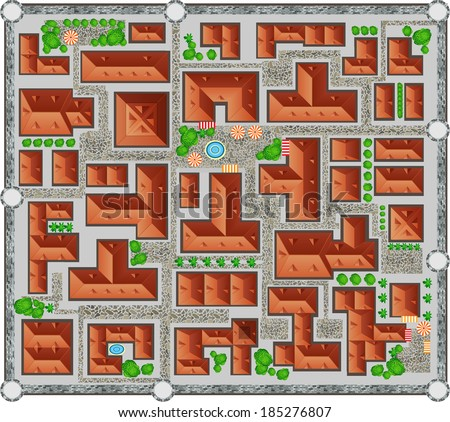 The plan of the ancient city. View from above. - stock vector