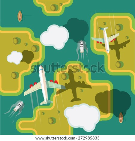 The plane flies over ground. Vector illustration. Seamless background. - stock vector