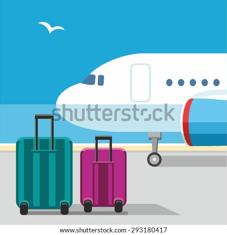 The plane, suitcases, Seagull, blue sky, airport, baggage, vacation. Color flat illustration with airplane and Luggage on the runway. On the background of blue sky and seagulls. .  - stock vector