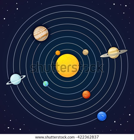 The planets of the solar system, vector illustration - stock vector