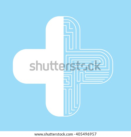 The plus sign The other side is a labyrinth - stock vector