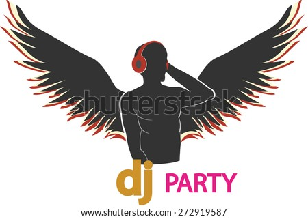the poster of the DJ with wings. Vector Illustration - stock vector