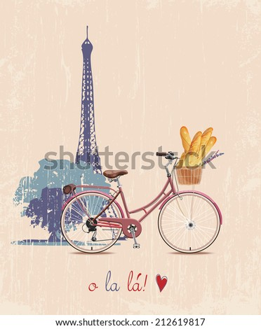 The poster with the bike and French baguettes in vintage style. Silhouette of the Eiffel tower. Vector illustration. - stock vector
