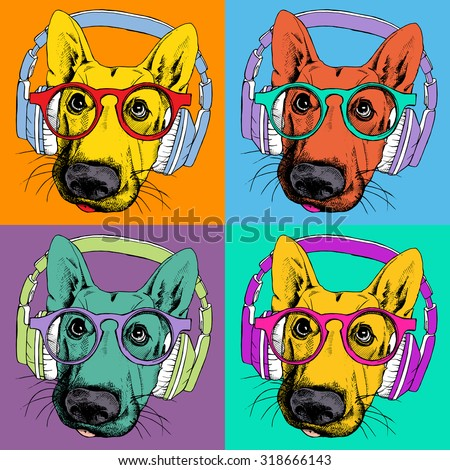 The poster with the portrait of a German Shepherd with headphones and glasses in the style of pop art. vector illustration. - stock vector