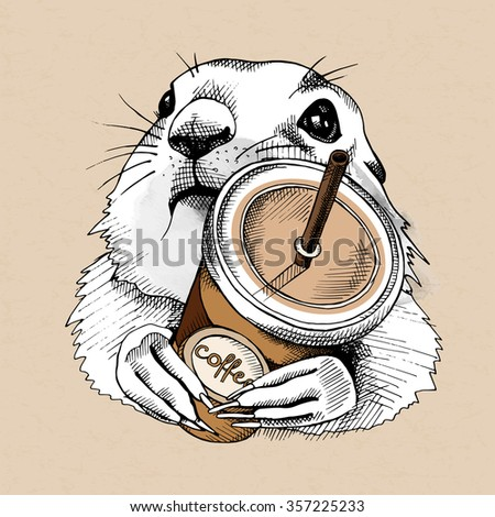 The poster with the portrait of the Prairie Dog with the Coffee in the plastic cup. Vector illustration. - stock vector