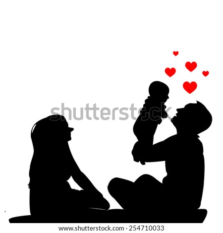 The power of love ,Family silhouettes vector  - stock vector