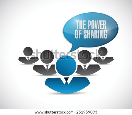 the power of sharing button illustration design over a blue background - stock vector