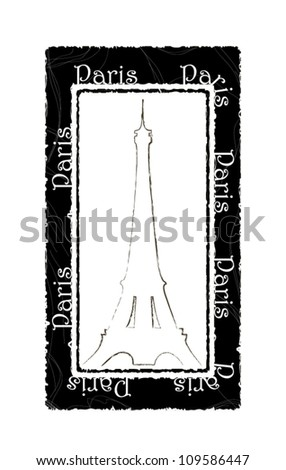 The press with the abstract Eiffel Tower - stock vector