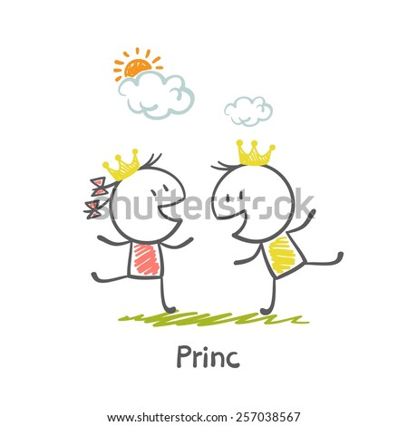 The Prince and Princess illustration - stock vector