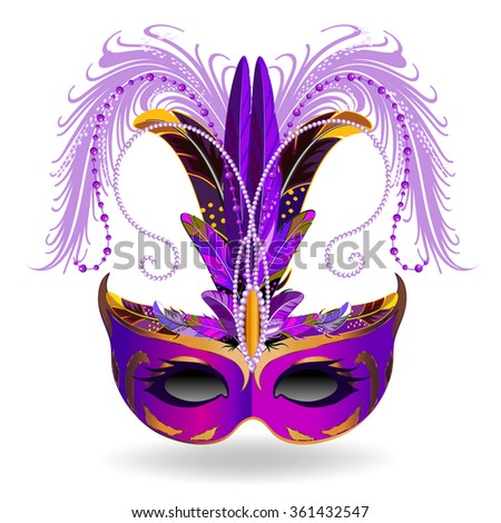 The purple carnival mask with multicolor feathers. The mask decorated with golden pattern. - stock vector