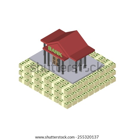 The pyramid of bank money. The guarantee of reliability. Stocks of money dollars - stock vector