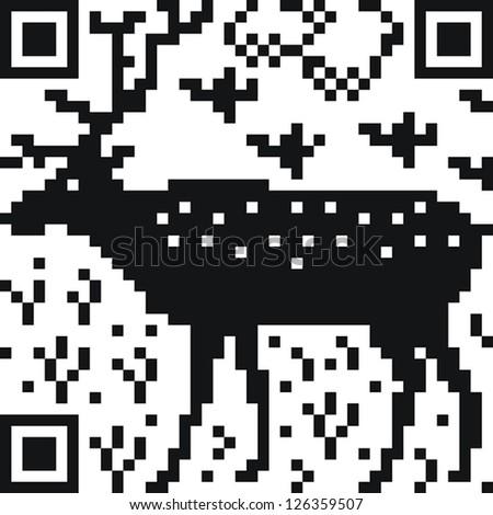 The QR code as a deer - stock vector