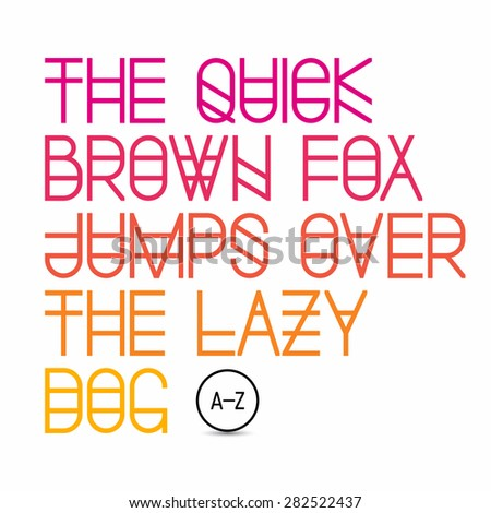 The quick brown fox jumps over the lazy dog - latin alphabet letters. Vector. - stock vector