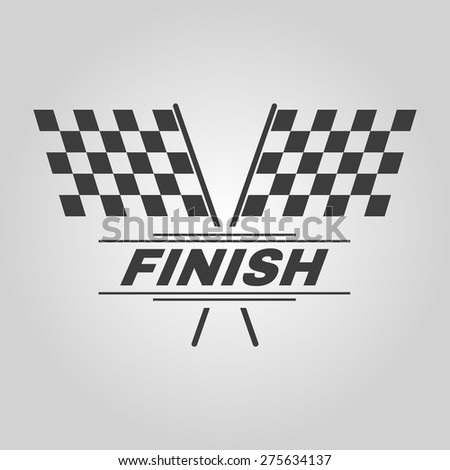 The race flag icon. Finish symbol. Flat Vector illustration - stock vector