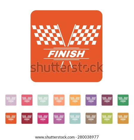 The race flag icon. Finish symbol. Flat Vector illustration. Button Set - stock vector