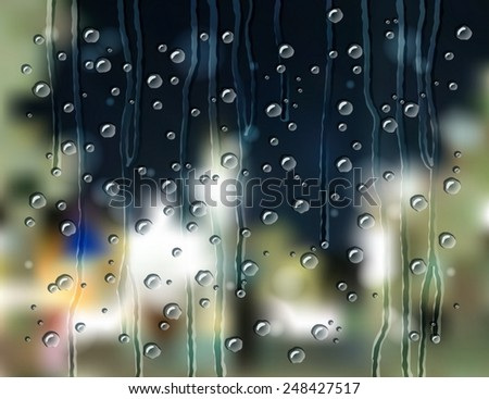 the rain drops on the glass with a blurry background of the night city view - stock vector