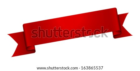 The red blank ribbon ready for your text / The blank glossy red ribbon / The ribbon - stock vector