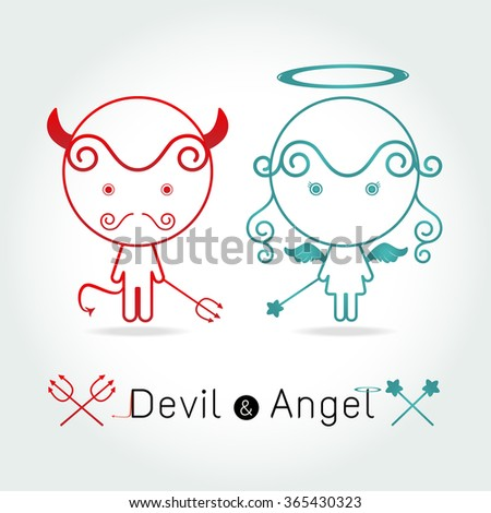 The red devil and  cute angel  vector illustration - stock vector