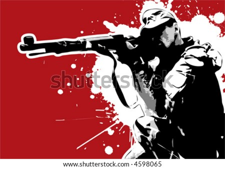 The Red Series No. 16: Grungy vector sharp-shooter - stock vector