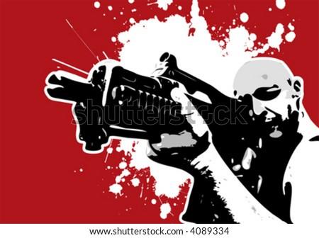 The Red Series No. 8: Vector Gun Guy - stock vector