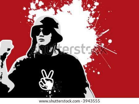 The Red Series No. 7: vector protest - stock vector