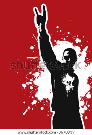 The Red Series No. 1: young vector metal head - stock vector