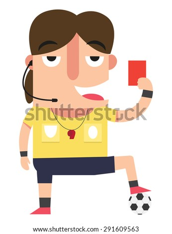 The referee showing the red card. illustration,vector   - stock vector