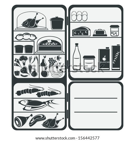 The refrigerator with food on a white background. The composition is executed in two colors. - stock vector