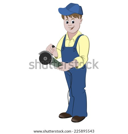 The repairman or handyman standing with a angle grinder or saw - stock vector