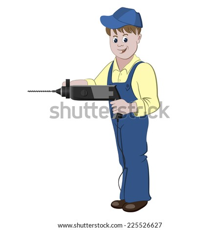 The repairman or handyman standing with a perforator or drill - stock vector