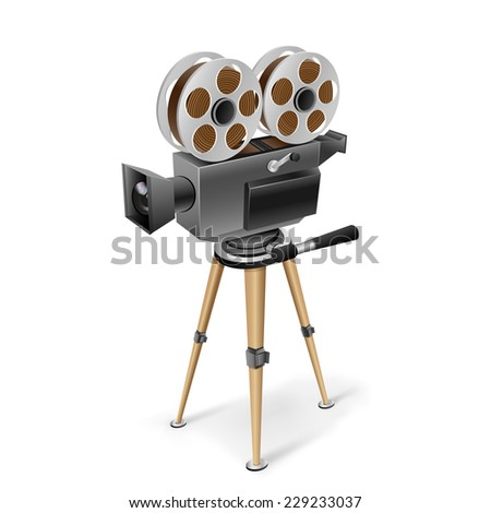 The retro cinema camera on a tripod on the white background - stock vector