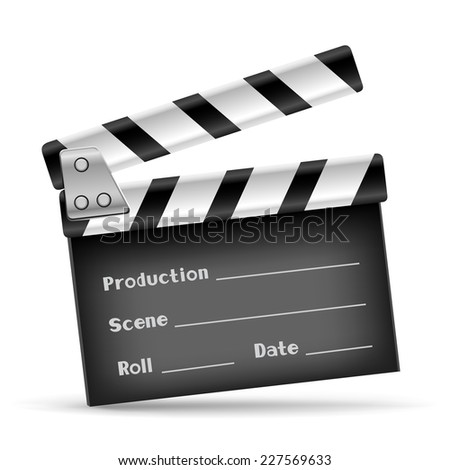 The retro clapper board on the white background - stock vector