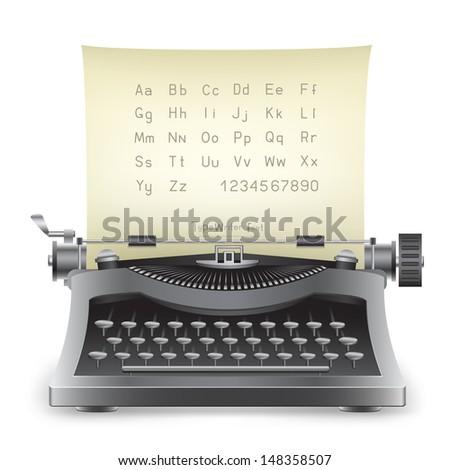 The retro desktop black typewriter with alphabet on the white background - stock vector