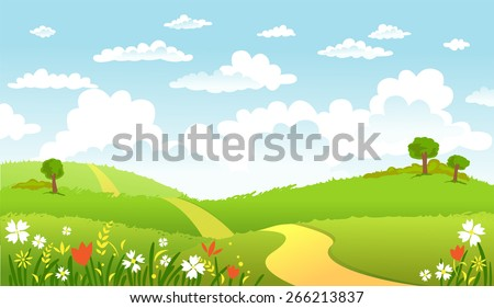 The road in green fields,  leading for the horizon - stock vector