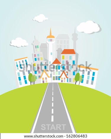 the road into the city - stock vector