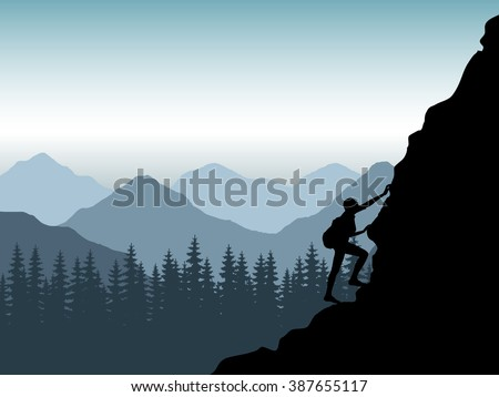 The rock-climber the girl rises up by the mountain. The climber against mountains at sunrise makes rise on height. The climber with a backpack travels around mountains. Vector. - stock vector