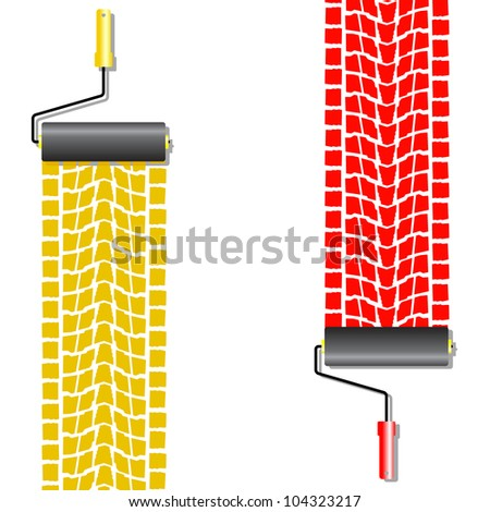The roller draws paint from the wheel of the machine . Vector - stock vector