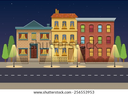 The row of three houses at night. Vintage houses. City background - stock vector