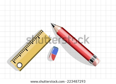 The ruler, pencil and workbook page - stock vector