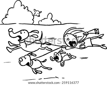 The runaway dog for a walk, Woman behind them flutters - black line vector illustration - stock vector