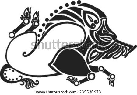 the running twisted boar in style of Scythian tattoos - stock vector