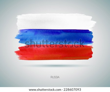 The Russian flag painted  with watercolor - stock vector